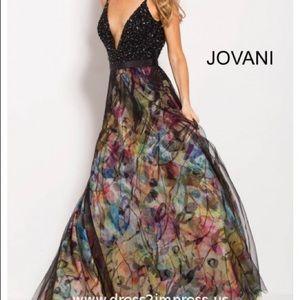 Black Multi beaded V neck bodice prom gown 58685